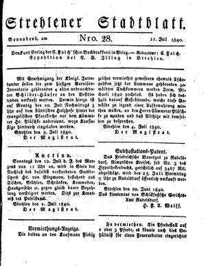 Strehlener Stadtblatt vom 11.07.1840
