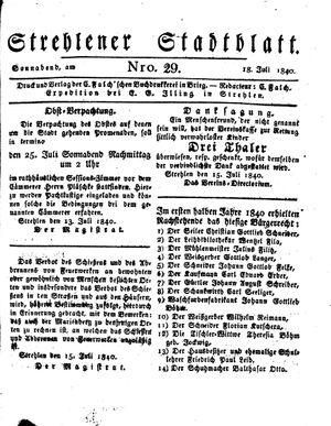 Strehlener Stadtblatt vom 18.07.1840