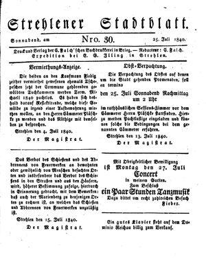 Strehlener Stadtblatt vom 25.07.1840