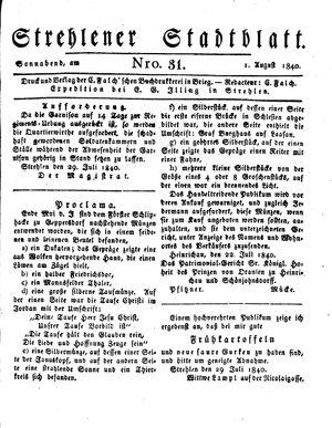 Strehlener Stadtblatt vom 01.08.1840