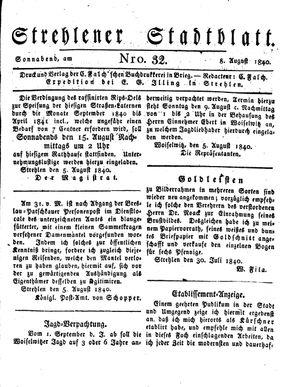 Strehlener Stadtblatt vom 08.08.1840