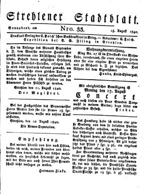 Strehlener Stadtblatt vom 15.08.1840
