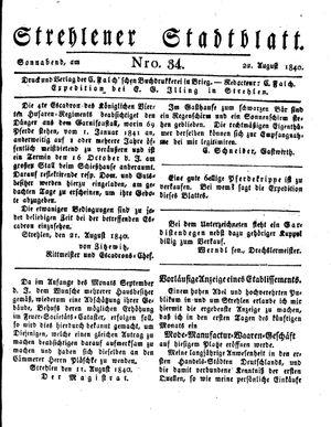Strehlener Stadtblatt vom 22.08.1840