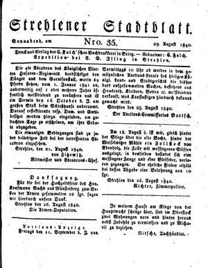 Strehlener Stadtblatt vom 29.08.1840