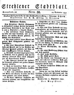 Strehlener Stadtblatt vom 19.09.1840