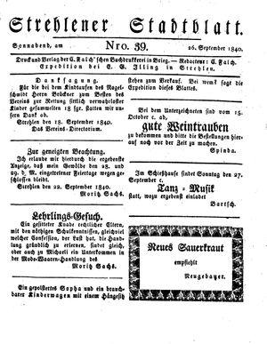 Strehlener Stadtblatt on Sep 26, 1840