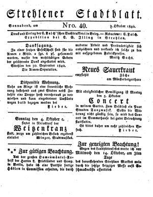 Strehlener Stadtblatt vom 03.10.1840