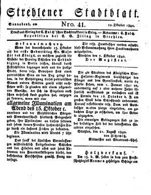 Strehlener Stadtblatt vom 10.10.1840