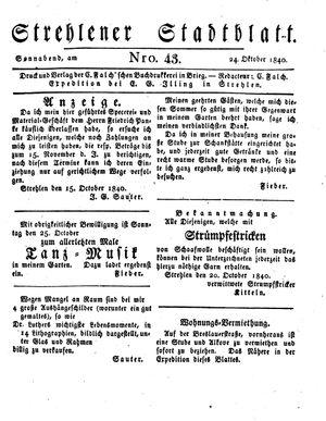 Strehlener Stadtblatt vom 24.10.1840