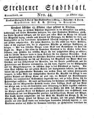 Strehlener Stadtblatt vom 31.10.1840