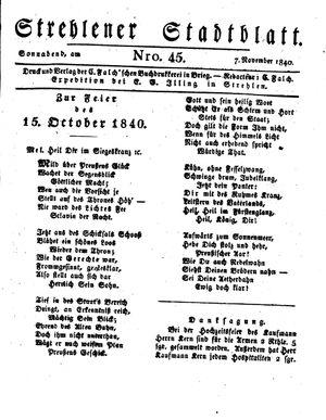 Strehlener Stadtblatt vom 07.11.1840