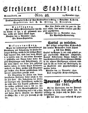 Strehlener Stadtblatt vom 14.11.1840