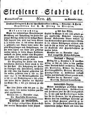 Strehlener Stadtblatt vom 28.11.1840