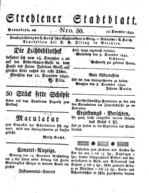 Strehlener Stadtblatt vom 12.12.1840