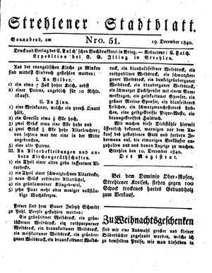 Strehlener Stadtblatt vom 19.12.1840