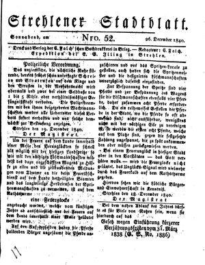Strehlener Stadtblatt vom 26.12.1840