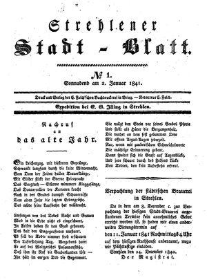 Strehlener Stadtblatt vom 02.01.1841