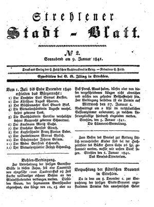 Strehlener Stadtblatt vom 09.01.1841