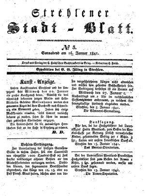 Strehlener Stadtblatt vom 16.01.1841