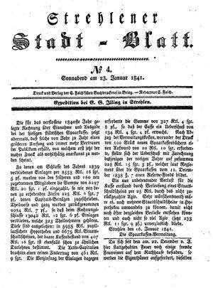 Strehlener Stadtblatt vom 23.01.1841