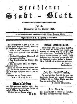 Strehlener Stadtblatt vom 30.01.1841