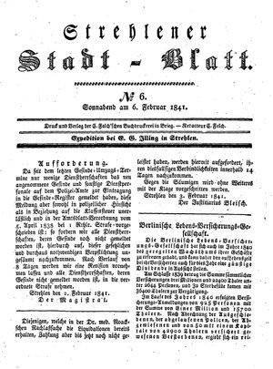 Strehlener Stadtblatt vom 06.02.1841