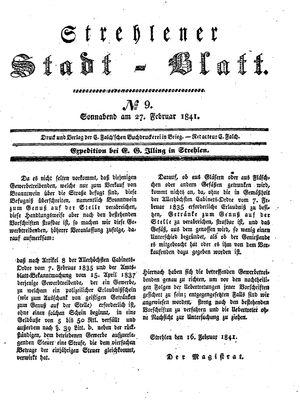 Strehlener Stadtblatt vom 27.02.1841