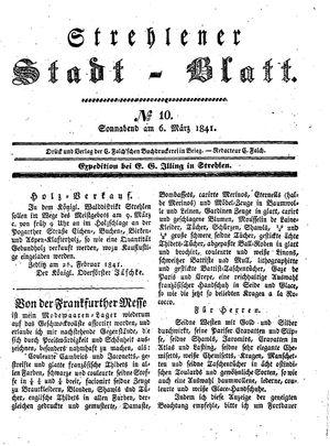 Strehlener Stadtblatt vom 06.03.1841