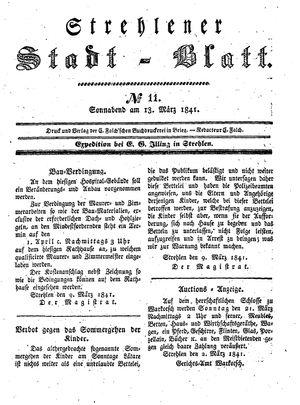 Strehlener Stadtblatt vom 13.03.1841