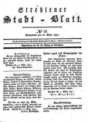 Strehlener Stadtblatt vom 20.03.1841