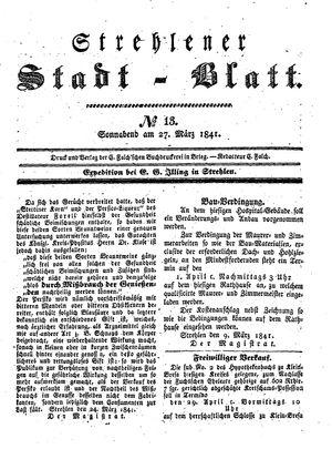 Strehlener Stadtblatt on Mar 27, 1841
