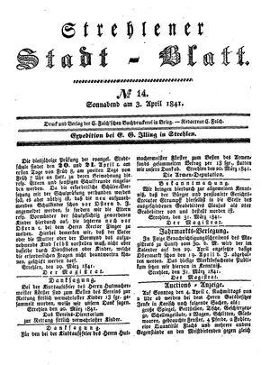Strehlener Stadtblatt vom 03.04.1841