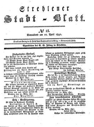 Strehlener Stadtblatt vom 10.04.1841