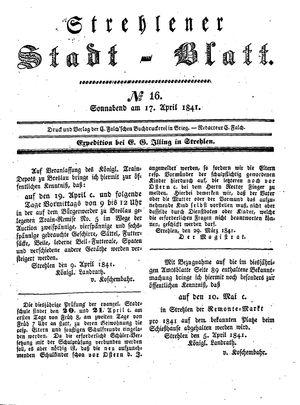 Strehlener Stadtblatt vom 17.04.1841
