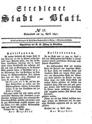 Strehlener Stadtblatt vom 24.04.1841