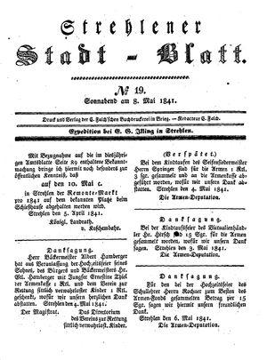 Strehlener Stadtblatt vom 08.05.1841
