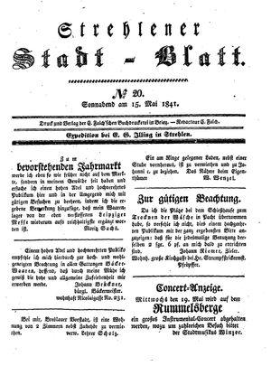 Strehlener Stadtblatt vom 15.05.1841