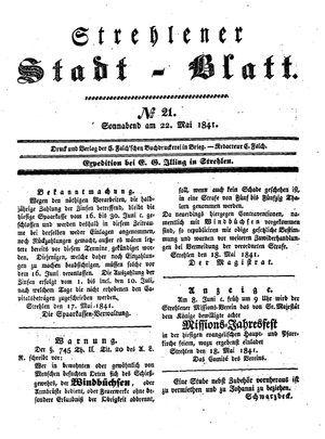 Strehlener Stadtblatt on May 22, 1841