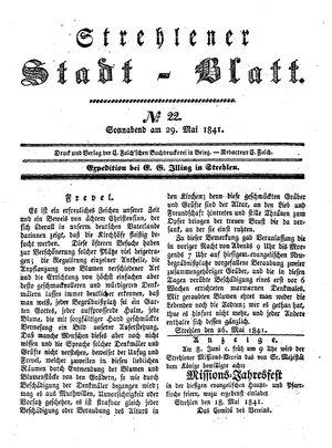 Strehlener Stadtblatt vom 29.05.1841
