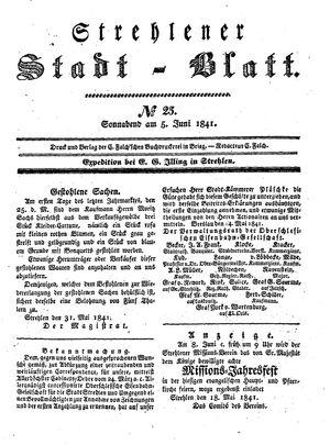 Strehlener Stadtblatt vom 05.06.1841