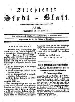 Strehlener Stadtblatt vom 12.06.1841