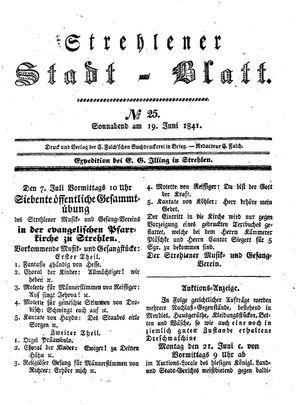 Strehlener Stadtblatt vom 19.06.1841