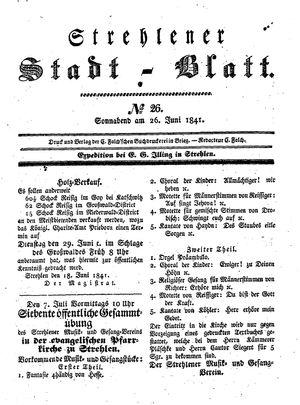 Strehlener Stadtblatt vom 26.06.1841