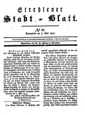 Strehlener Stadtblatt vom 03.07.1841