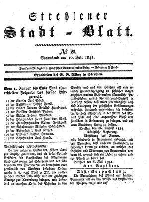 Strehlener Stadtblatt vom 10.07.1841