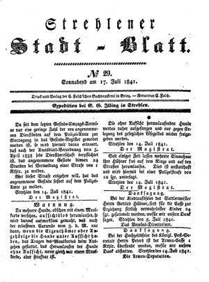 Strehlener Stadtblatt vom 17.07.1841