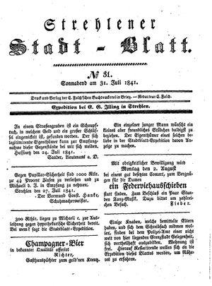 Strehlener Stadtblatt vom 31.07.1841