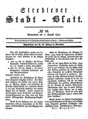 Strehlener Stadtblatt vom 07.08.1841