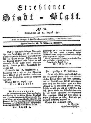 Strehlener Stadtblatt vom 14.08.1841
