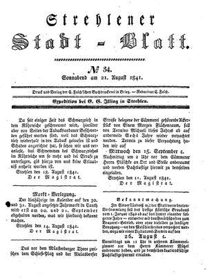 Strehlener Stadtblatt vom 21.08.1841